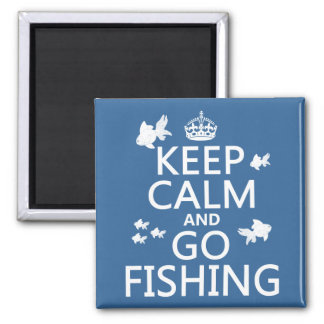 Keep Calm and Go Fishing 2 Inch Square Magnet