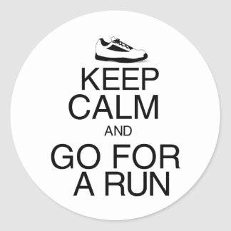 Keep Calm and Go For A Run Classic Round Sticker
