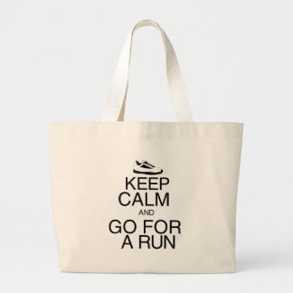 Keep Calm and Go For A Run Large Tote Bag
