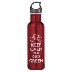 Water Bottle (24 oz) with Keep Calm and Go Green design
