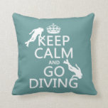 Keep Calm and Go (scuba) Diving (all colors) Throw Pillow