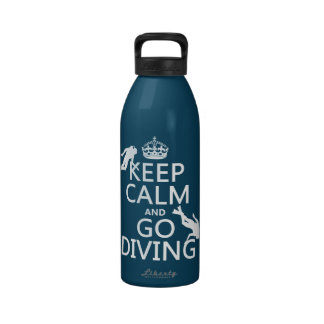 Keep Calm and Go (scuba) Diving (all colors) Drinking Bottles