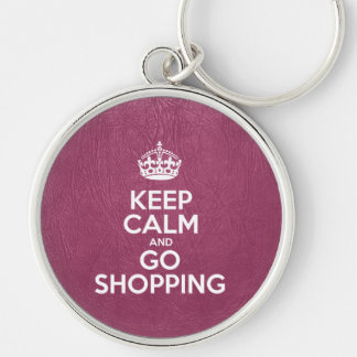 Keep Calm and Go Shopping - Pink Leather Silver-Colored Round Keychain