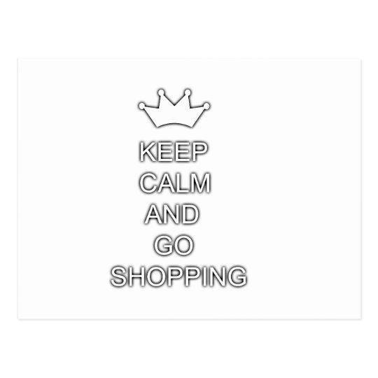 Keep calm and go shopping postcard
