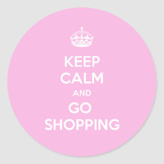 Keep Calm and Go Shopping Classic Round Sticker