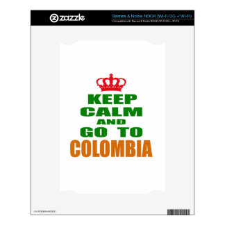 Keep calm and go to Colombia. Decal For NOOK