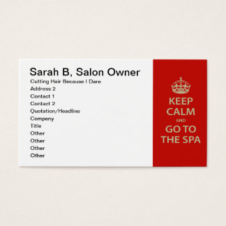 Keep Calm and Go To the Spa Business Card