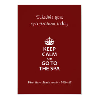 Keep Calm and Go To the Spa 5x7 Paper Invitation Card