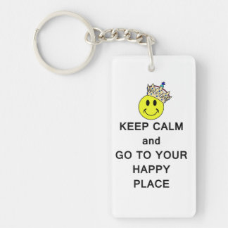 Keep Calm and Go to Your Happy Place Acrylic Keychain