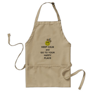 Keep Calm and Go to Your Happy Place Smiley Crown Adult Apron