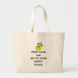 Keep Calm and Go to Your Happy Place Smiley Crown Tote Bags