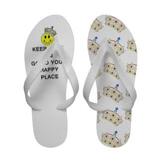 Keep Calm and Go to Your Happy Place Smiley Crown Sandals