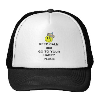 Keep Calm and Go to Your Happy Place Smiley Crown Trucker Hat