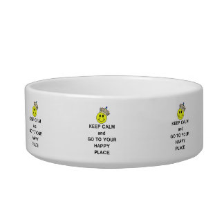 Keep Calm and Go to Your Happy Place Smiley Crown Pet Food Bowl