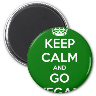 Keep Calm and GO VEGAN 2 Inch Round Magnet