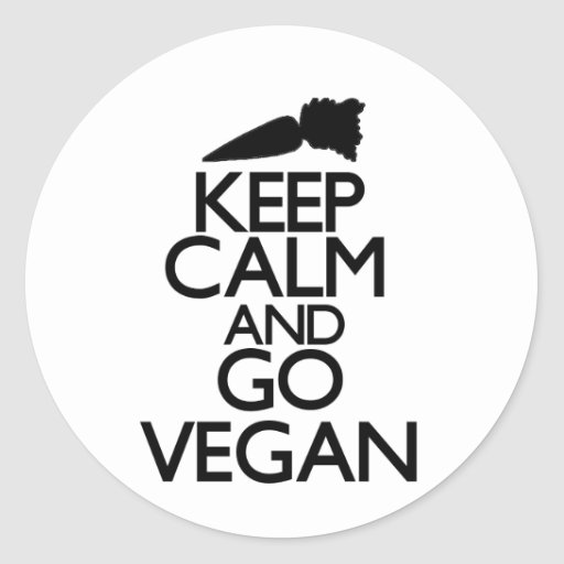 Keep calm and go vegan classic round sticker