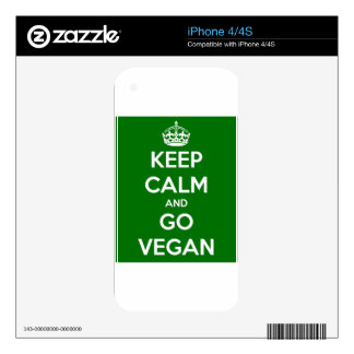 Keep Calm and GO VEGAN Decal For The iPhone 4