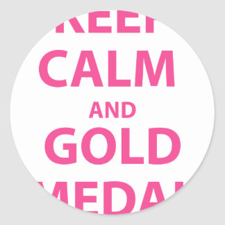 Keep Calm and Gold Medal Classic Round Sticker