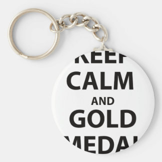 Keep Calm and Gold Medal Key Chain