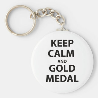 Keep Calm and Gold Medal Key Chains