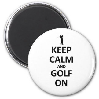 Keep calm and golf on 2 inch round magnet