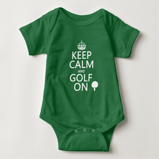 Keep Calm and Golf On - available in all colors Baby Bodysuit