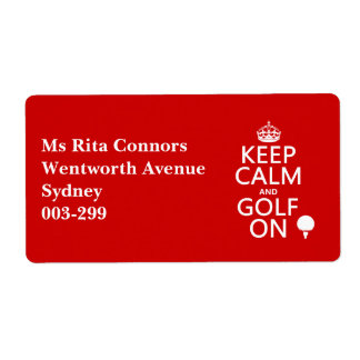 Keep Calm and Golf On - available in all colors Label