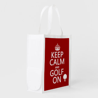 Keep Calm and Golf On - available in all colors Grocery Bags