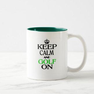 Keep Calm and Golf On Two-Tone Coffee Mug