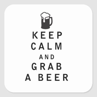 Keep Calm and Grab a Beer Square Sticker