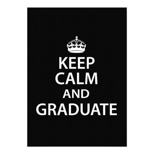 Keep Calm and Graduate Funny Graduation Invitation