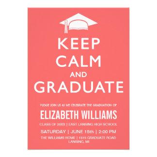 Keep Calm and Graduate Invitation - Peach Pink