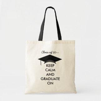 Keep calm and graduate on budget tote bag