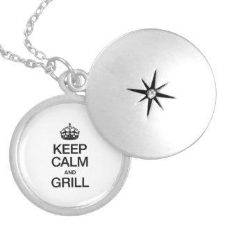 KEEP CALM AND GRILL ROUND LOCKET NECKLACE