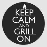 Keep Calm and Grill On Classic Round Sticker