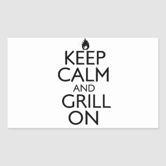 Keep Calm and Grill On Rectangular Sticker