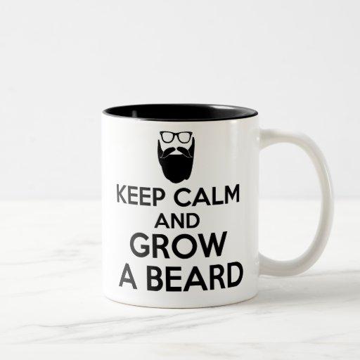 keep calm and grow a beard mug