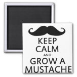 Keep Calm and Grow a Mustache 2 Inch Square Magnet