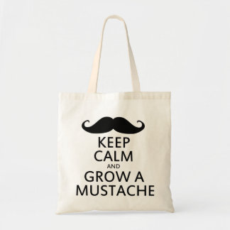 Keep Calm and Grow a Mustache Tote Bags