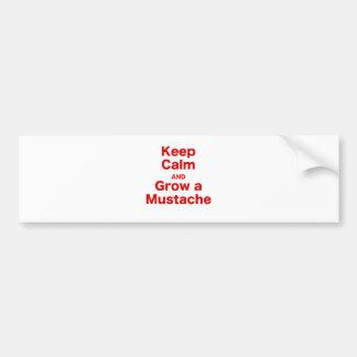Keep Calm and Grow a Mustache Bumper Sticker