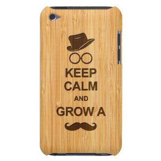 Keep Calm and Grow a Mustache in Bamboo Look Barely There iPod Cases