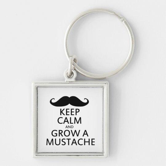Keep Calm and Grow a Mustache Keychain