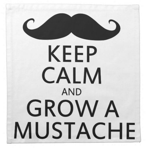 Keep Calm and Grow a Mustache Printed Napkin