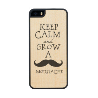 Keep Calm and Grow A Mustache Wood Phone Case For iPhone SE/5/5s