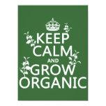 "Keep Calm and Grow Organic (all colors) 5.5"" X 7.5"" Invitation Card"