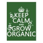 Keep Calm and Grow Organic (all colors) Postcard