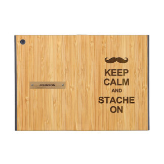 Keep Calm and Grow Stache On in Bamboo Look Covers For iPad Mini