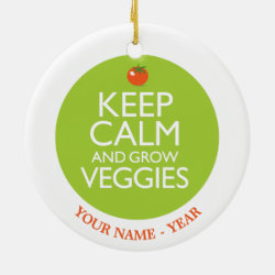 Circle Ornament with Keep Calm and Grow Veggies design