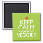 Keep Calm and Grow Veggies 2 Inch Square Magnet