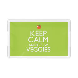 Small Serving Tray with Keep Calm and Grow Veggies design